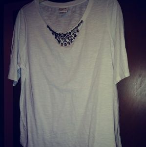 Jaclyn Smith XL White Shirt w/ Beaded Neckline